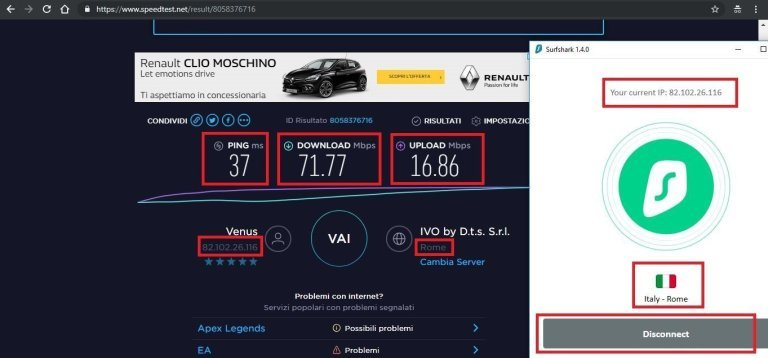 speedtest servzio vpn